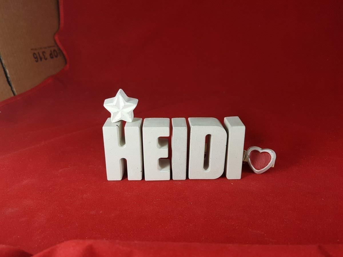 Beton, Steinguss Buchstaben 3D Deko Namen HEIDI mit Stern und Herzklammer als Geschenk verpackt! Ein ausgefallenes Geschenk zur Geburt, Taufe, Geburtstag oder auch zu anderen Anlässen.