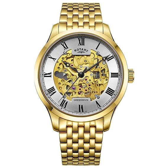 Rotary Reloj esquelético Chapado en Oro automático para Hombre Greenwich GB02941/03: Amazon.es: Relojes