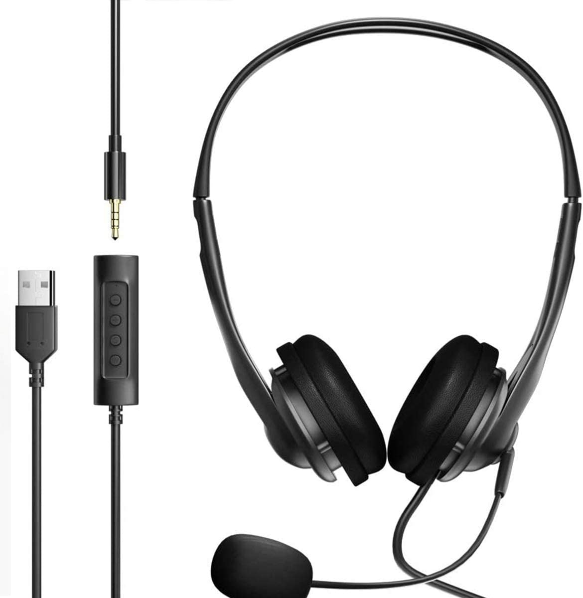 3.5 and USB Headset with Microphone Combo for Laptop Computer, PC, Zoom, Skype, Video Conference Calls, Lightweight Headphones with Mute Button mic Boom