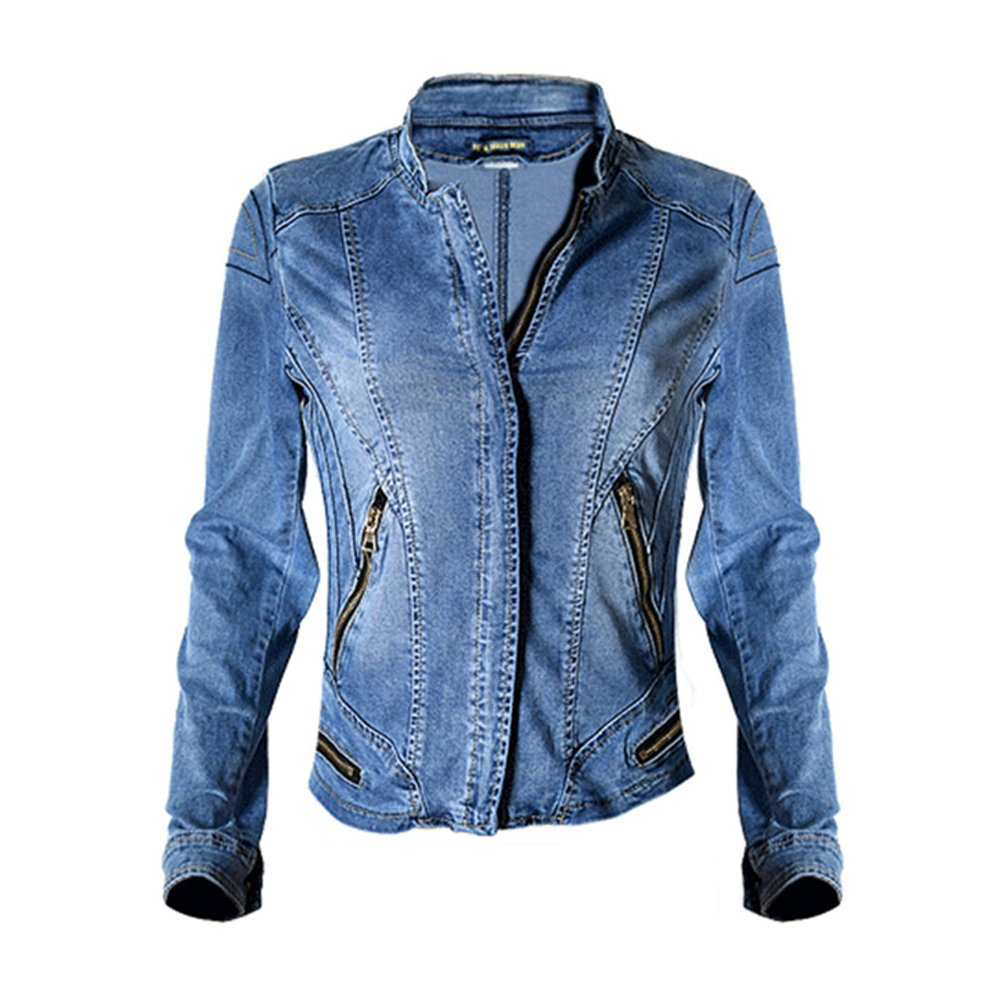 Dreamskull womens stand collar moto stretch denim jacket