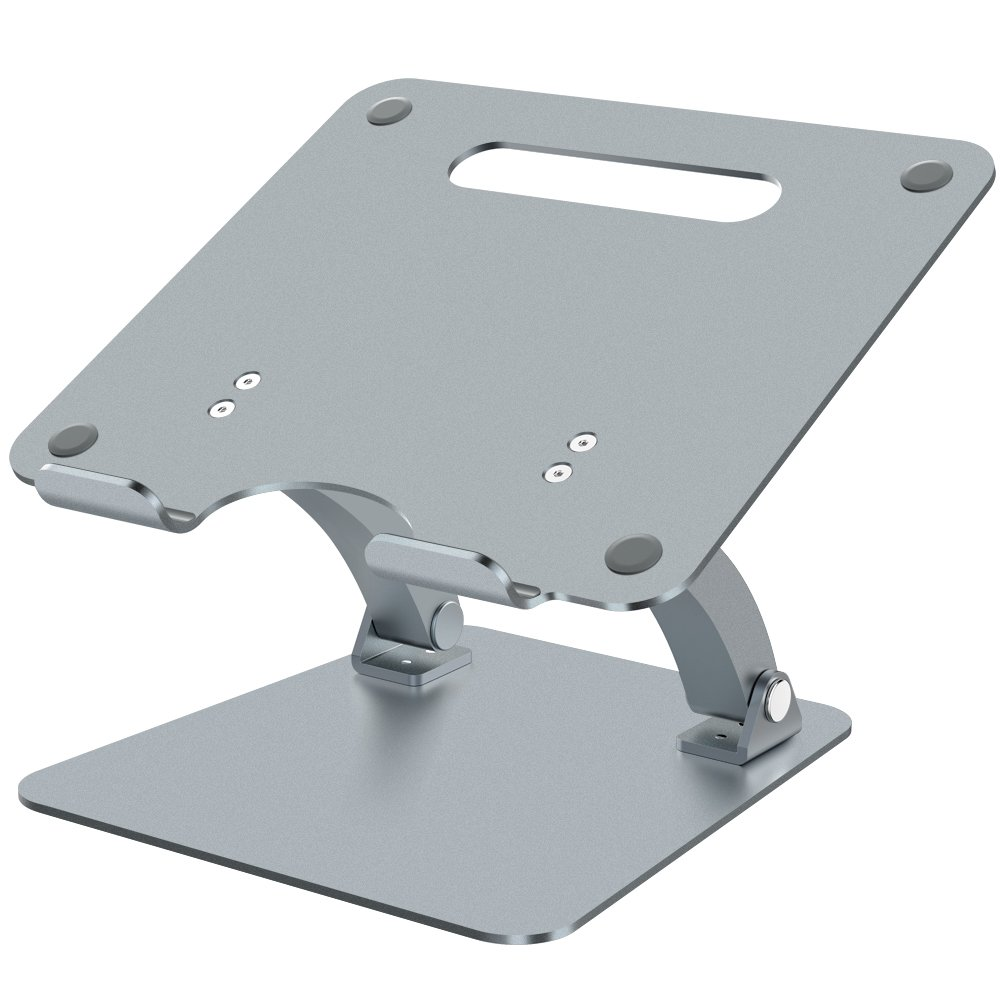 Nulaxy Adjustable Multi-Angle Aluminum Laptop Stand for Macbook Pro / Air, Apple Laptop Stand, 7-15'' Notebook and Tablet, Desk Notebook Support with Anti-Slip Silicone Pad, Grey