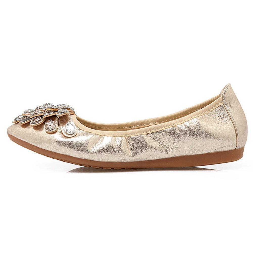 Meeshine Womens Foldable Soft Pointed Toe Ballet Flats Rhinestone Comfort Slip on Flat Shoes(8 B(M) US,Gold 01) by Meeshine (Image #2)