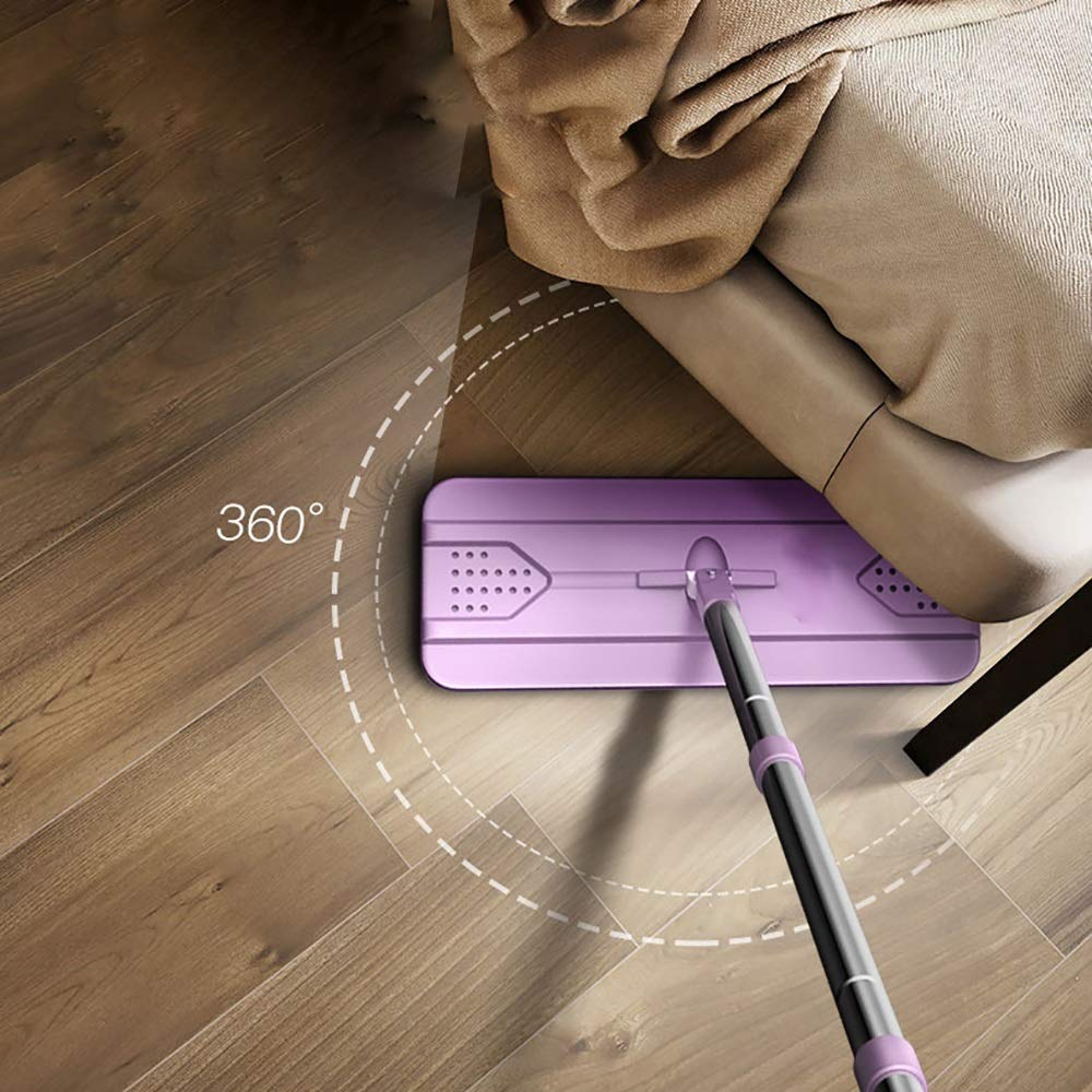 Xiao Jian Rotating Mop - Hand-free Flat Mop Rotating Home Wood Floor Tile Mop One Drag Lazy Wet And Dry Mop mop (color : Beige, UnitCount : 1 mop pole) by Qi Peng-//spin mop (Image #7)
