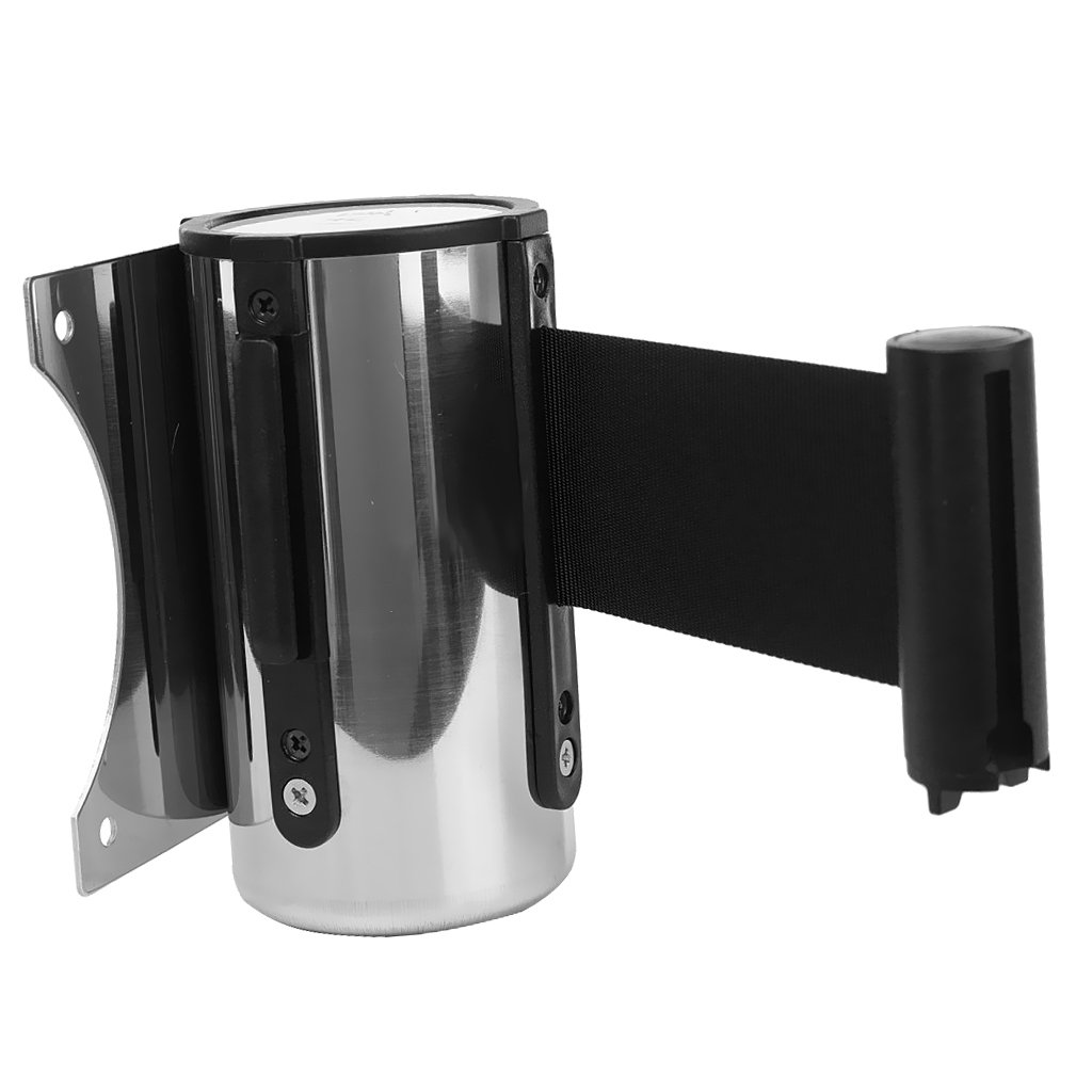 MagiDeal Belt d'Attente en Nylon et Inox Queue Barriere Mount Ruban Retractable Controle Foule pour Mariage Banque Marché Public 2/3/5m - Noir, 5 m