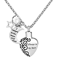 Q&Locket Urn Necklaces for Ashes Always in My Heart I Love You to The Moon and Back Cremation Jewelry