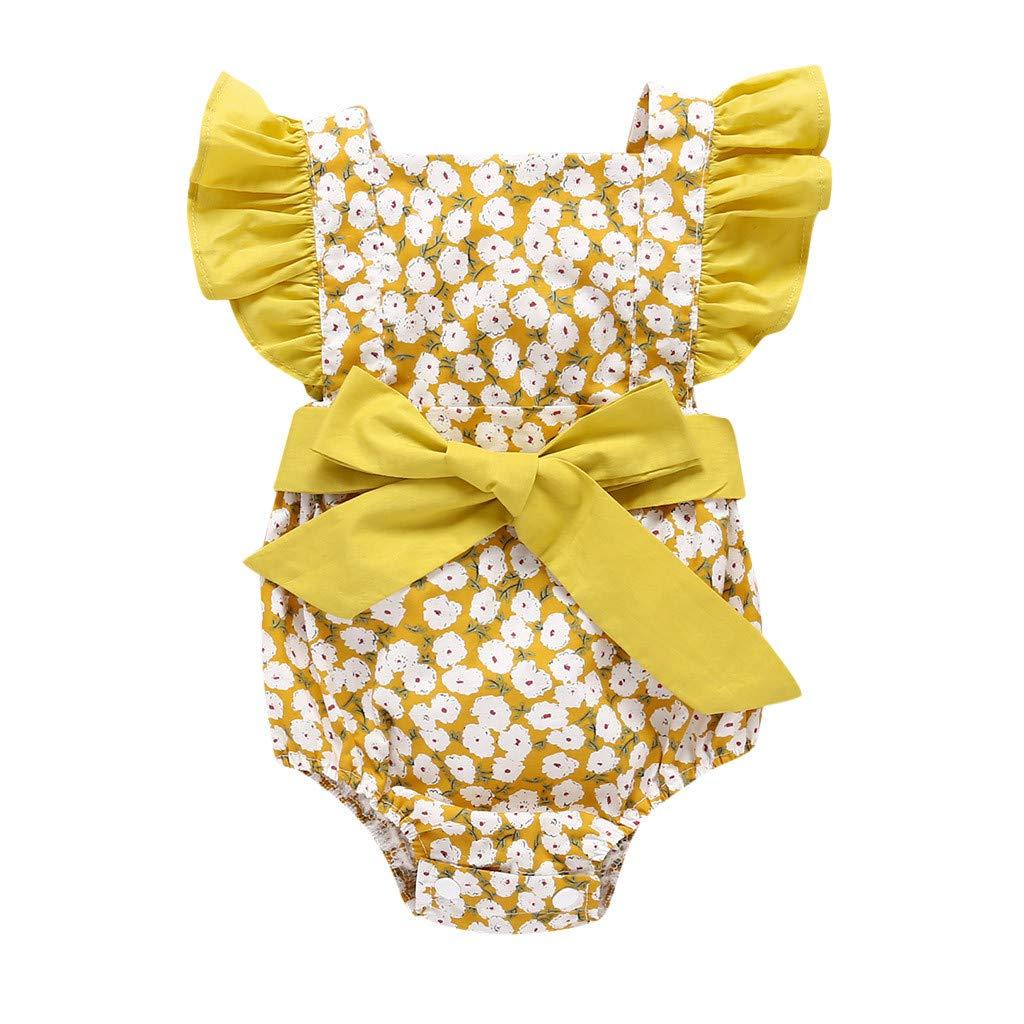 Hokoaidel Bebe Ropa Verano Beb/é Ni/ño Reci/én Nacido Infant Baby Girls Color Floral Ruffles Backcross Romper Body Conjuntos Toddler Baby Girls Floral Print Lace Strap Romper Baby