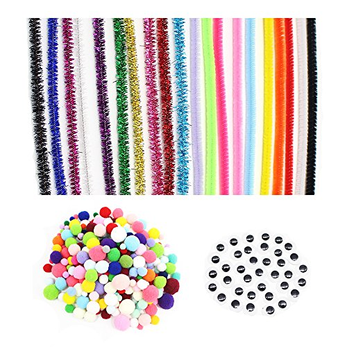 [400pcs/lot Pipe Cleaners Chenille Stem and Pompoms with Googly Wiggle Eyes for DIY Crafts Decorations (Style] (Diy Halloween Costume Boxer)