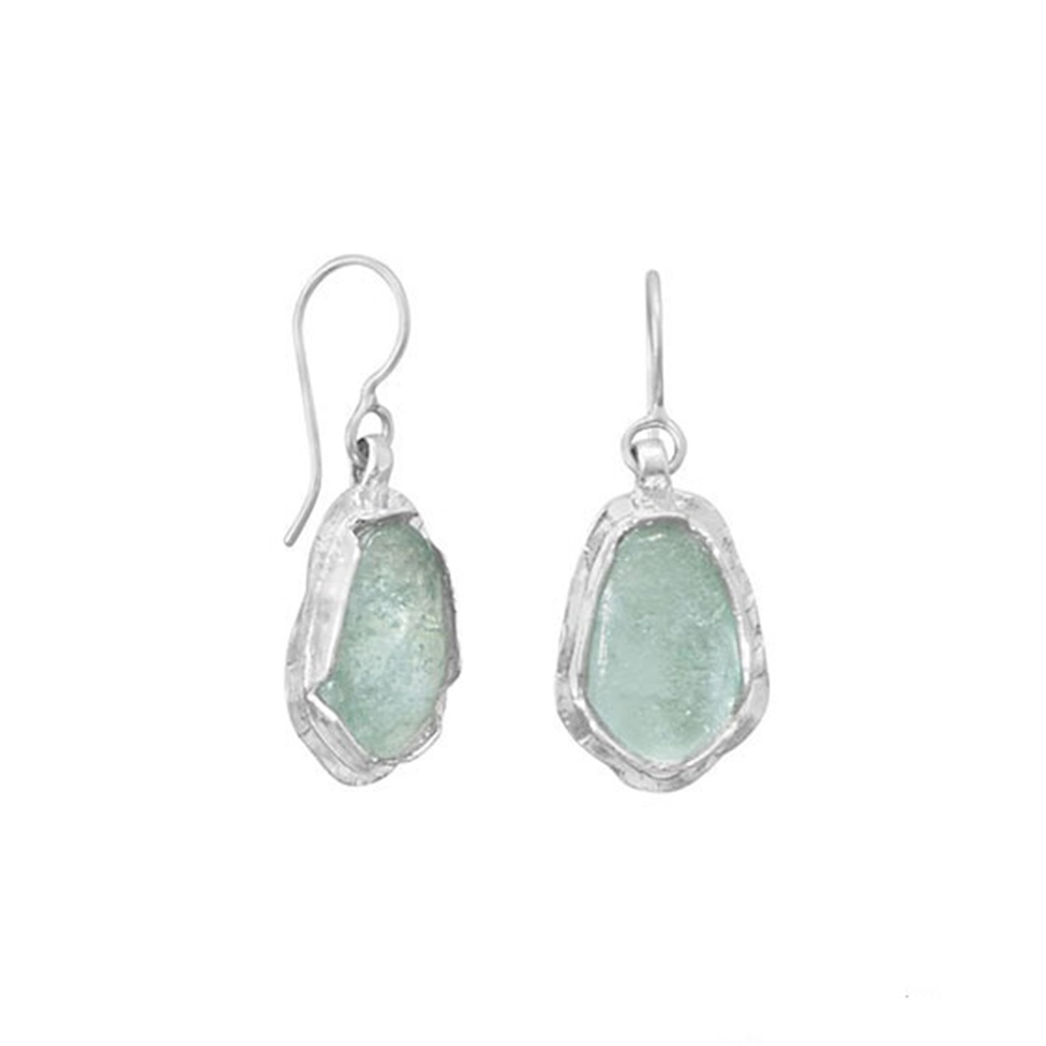 Ancient Roman Glass Earrings with Textured Edge Handmade in Israel by Roman Glass Company