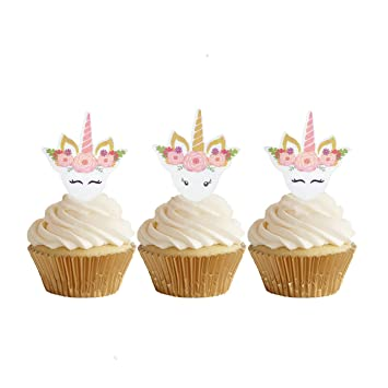 Image Unavailable Not Available For Color GEORLD 24pcs Edible Unicorn Cupcake Toppers Birthday Cake Decoration