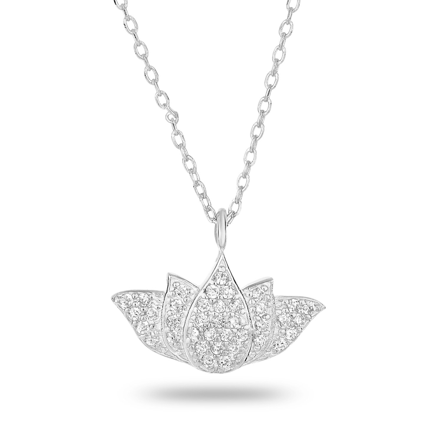 Rhodium-Plated Sterling Silver Cubic Zirconia Pave Matte Finish Lotus Pendant Necklace, 18\