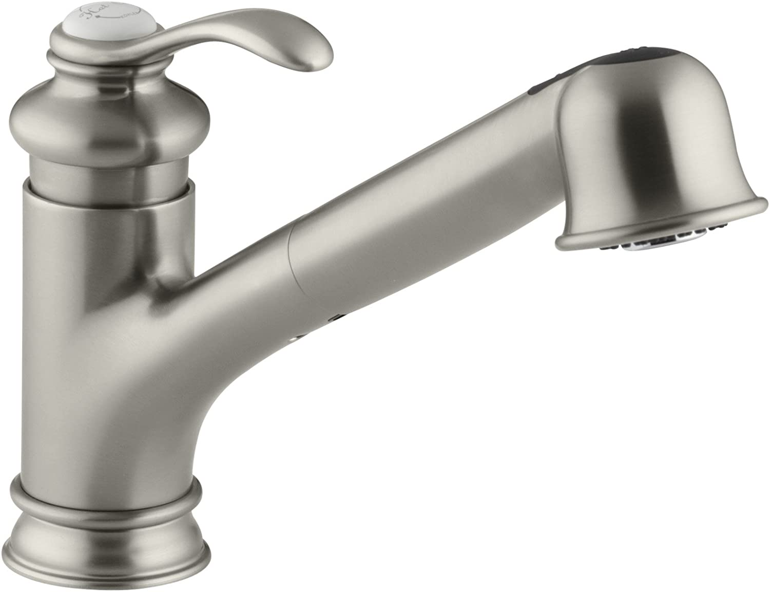 """KOHLER K-12177-BN Fairfax(R) Single Three-Hole Sink 9"""" Pull-Out spout Kitchen Faucet, Vibrant Brushed Nickel"""