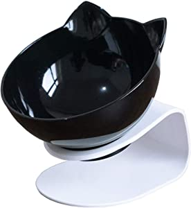 Love Dream Double Dog Cat Bowls with Raised Stand, Pet Food Water Feeder Bowl, 15° Tilted Pet Bowl Stress-Free Suit for Cats Small Dogs
