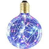SUNDY エジソン装飾電球 ヴィンテージスタイル G95 E26 110V-120V 1.6-2W LED 星空 銅線電球 ホーム 室内 照明 パーティークリスマスの結婚式の装飾ギフト休日ライト (マルチカラー-Flashing)