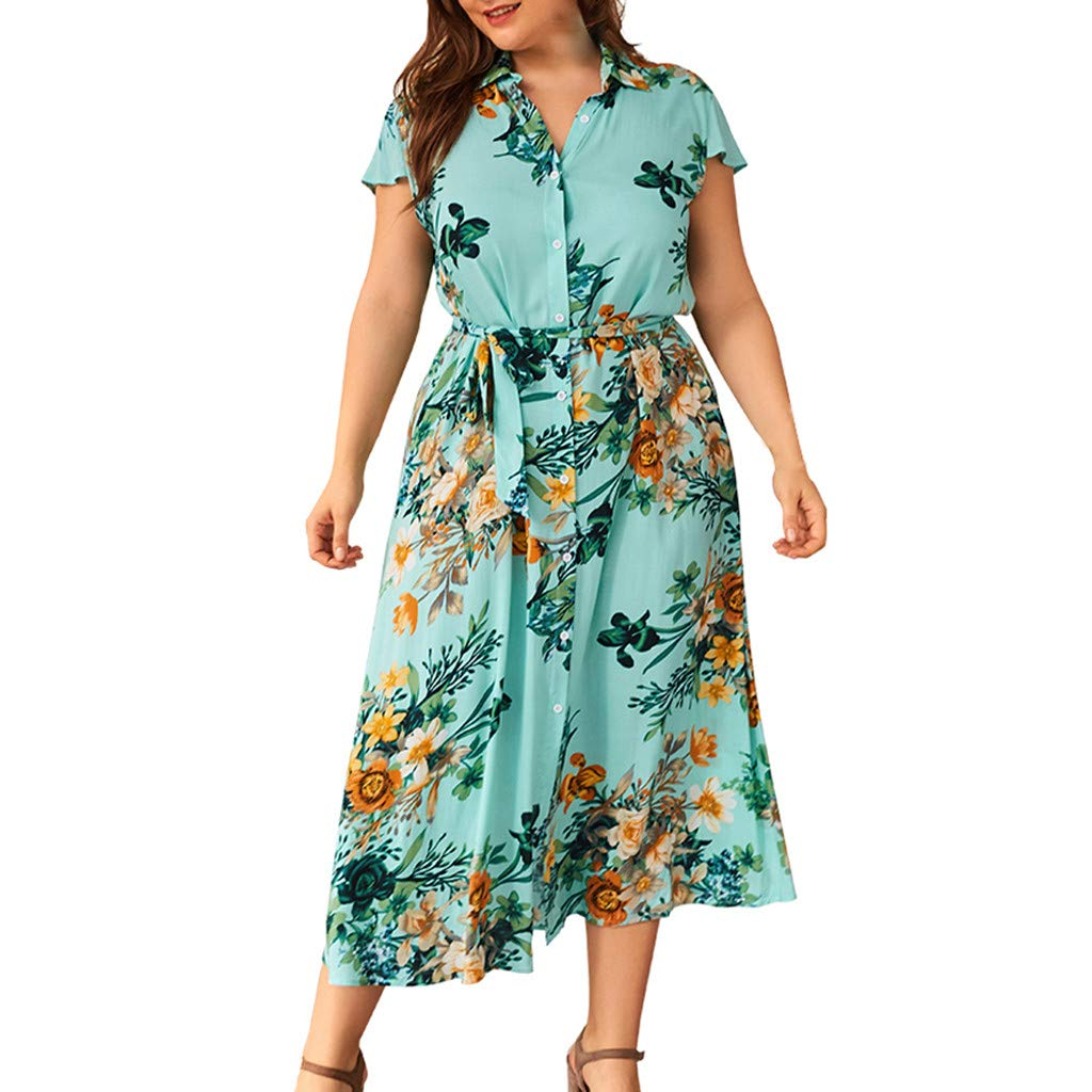 Sttech1 Plus Size Dress for Women Floral Print Short Sleeve Dress Button Shirt Dresses Green