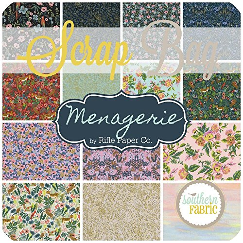 Menagerie Scrap Bag (approx 2 yards) by Rifle Paper Co. for Cotton and Steel 2 yards of fabric (at least 8 pieces) 2 to 17 inch strips DIY quilt fabric