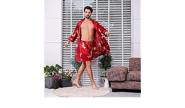 hjtktt Pijama De Manga Larga_Pantalones Cortos De Bata De Seda para Hombres, Pijama De Manga Larga De Verano, Dos Piezas Finas, Bata De Baño: Amazon.es: Hogar