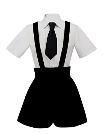 ZYHCOS White Shirt Suspender Shorts Summer Uniform Cosplay Costume (XS) 6c2ba43f7
