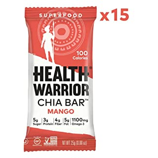 HEALTH WARRIOR Chia Bars, Mango, Gluten Free, Vegan, 25g bars, 15 Count