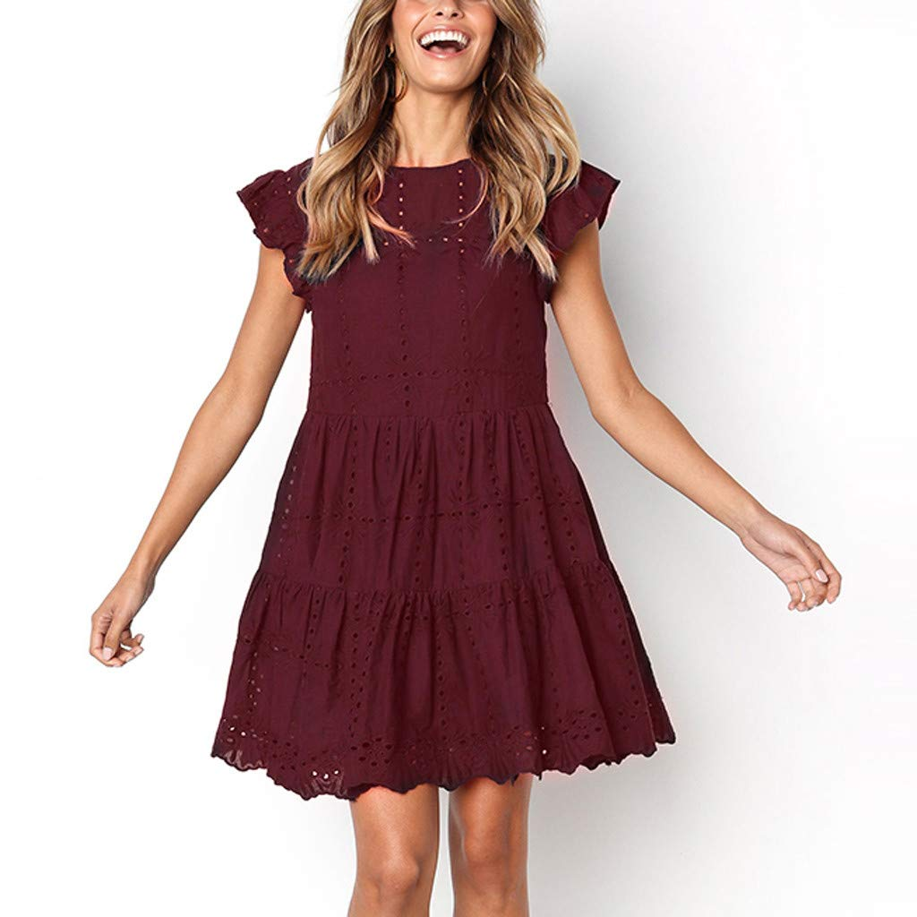 TIFENNY Crewneck A-Line Dress for Women Casual Ruffles Hem Sleeve Mini Dress Summer Hollow Out Ruched Dresses Wine