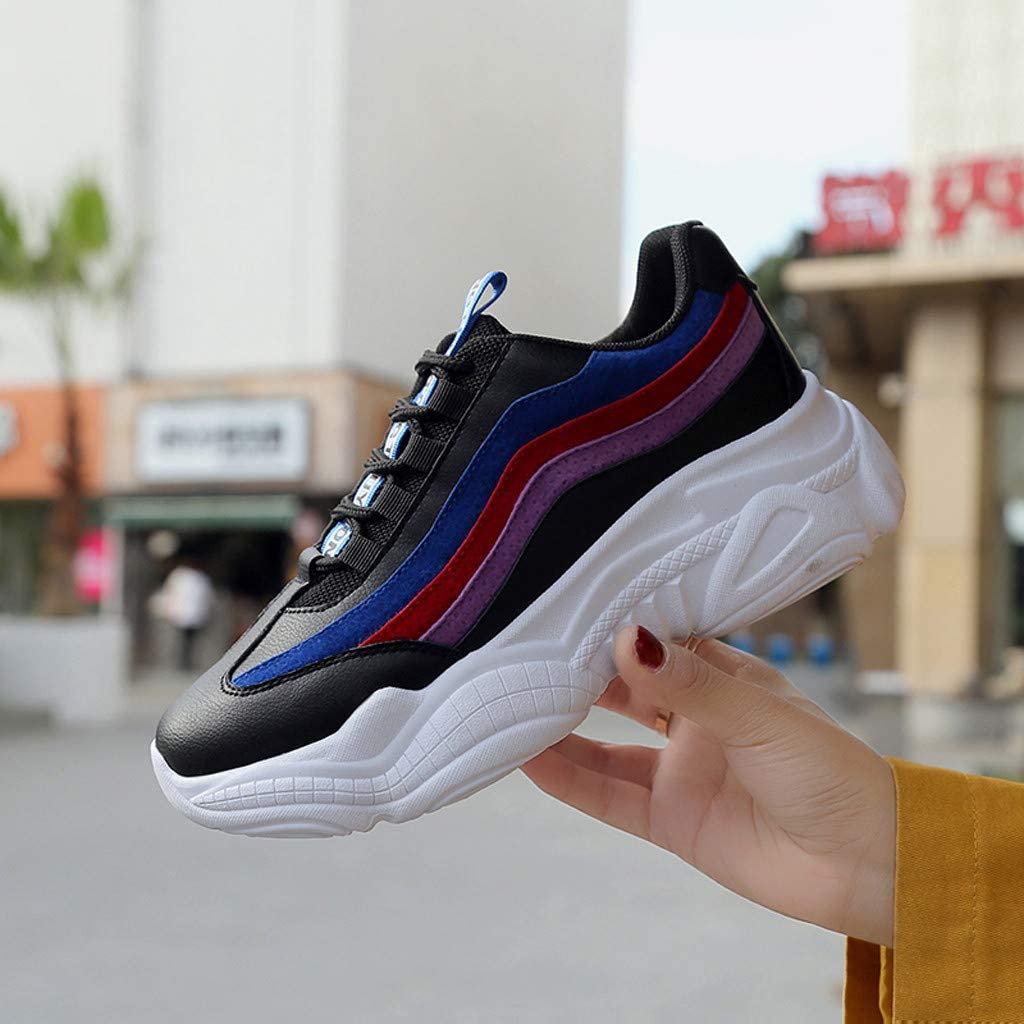 Golike Womens Color Line Mesh Breathable Thick-Soled Shoes Sneakers Comfortable Non-Slip Wild Platform Casual Shoes