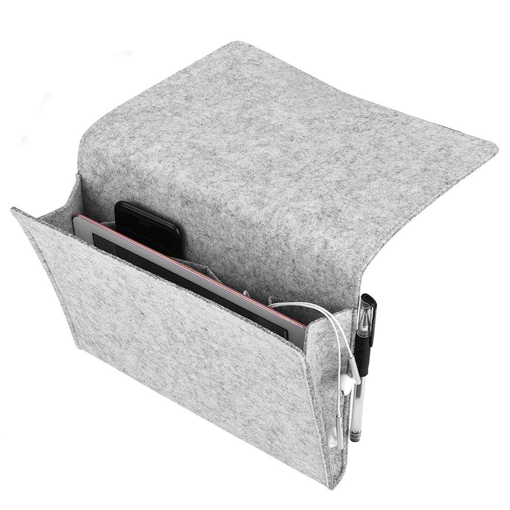 Behavetw Felt Storage Pouch Bag, Bedside Storage Pocket Caddy Organizer for Phone, Remote, Cable, Power Bank, Durable Foldable Pocket Organizer Box(light grey)