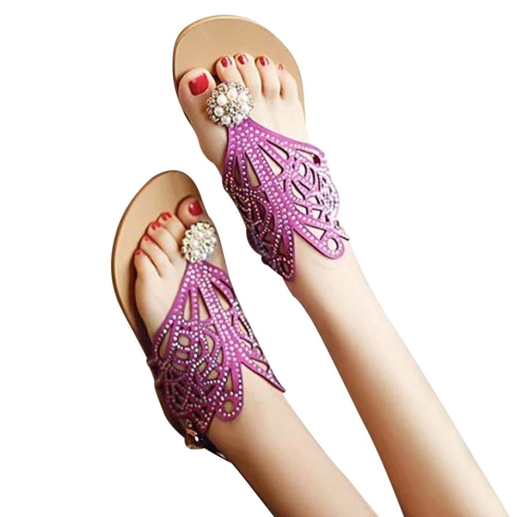Ouneed- Damen Sandalen, Damen Sommer Vintage Frauen Strass Flache Ferse Anti Skidding Strand Schuhe Rom Flats Sandalen Slipper Zehentrenner38|Lila