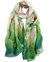 STORY OF SHANGHAI Women's Mulberry Flower Print Large Silk Scarf 68x43 Inches