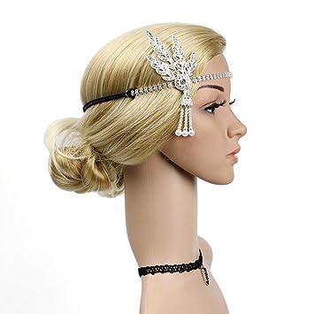 Silver Bridal Headband 1920s Flapper Vintage Wedding Headpiece Leaf Hairband