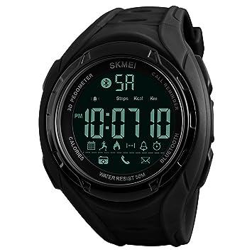 Skmei Reloj inteligente Bluetooth para Hombre, Fitness Trackers Digital Unisex Hombres Relojes con Podómetro Calorías