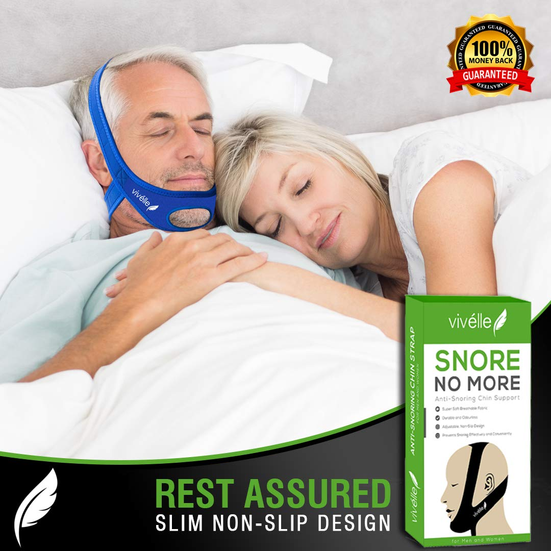 Vivélle Snore No More Anti Snoring Chin Strap Slim-Non-Slip Design for Men Women Snore Stopper Device