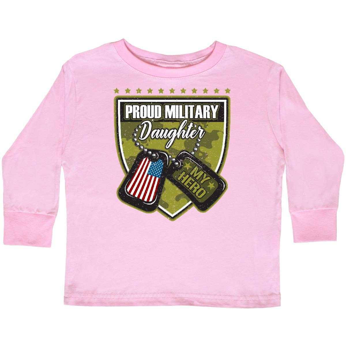 inktastic Proud Military Daughter Soldier Hero Toddler Long Sleeve T-Shirt