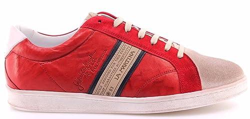 La Martina Scarpe Uomo Sneakers L3006204 Camoscio Farro Plutone Rubino  Pelle New ec8c84ca863