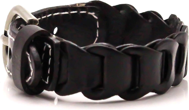 Xusamss Punk Buckle Bangle Weave Pu Leather Bracelet,7-8