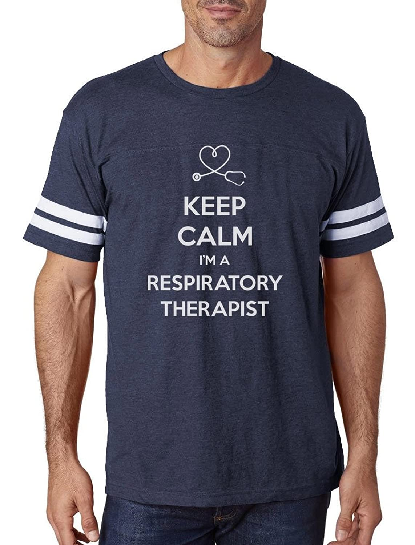 TeeStars - Keep Calm Respiratory Therapist Gifts Football Jersey T-Shirt
