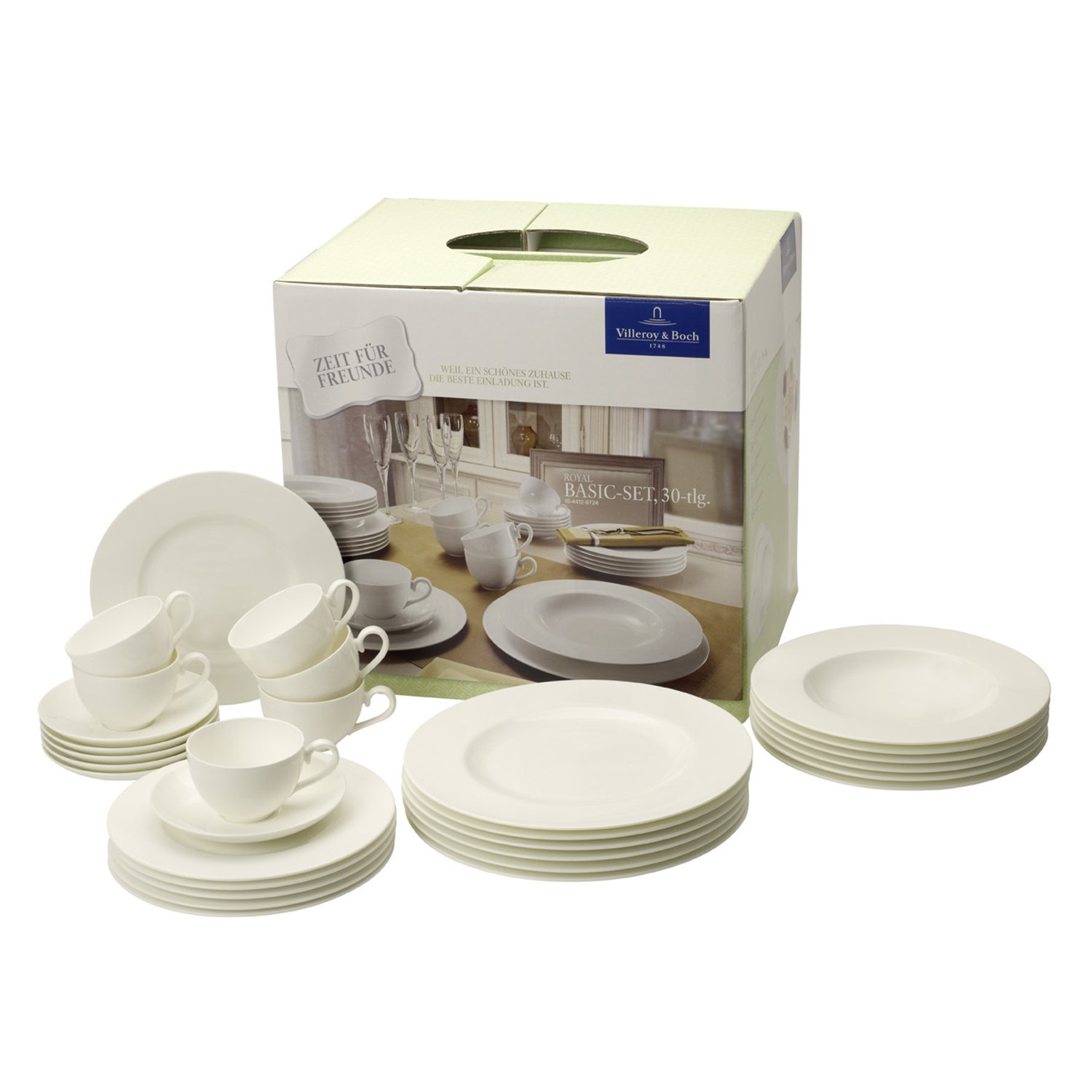 Amazon.com | Villeroy & Boch Royal White 30-Piece Dinnerware Set, Service  for 6: Dinnerware Sets