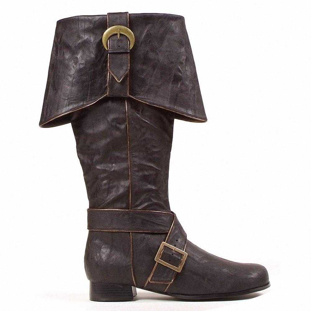 Ellie 1031 121-JACK Mens Comfortable 1''Heel Knee High Boots(Mens Sizes), Black PU, Size - S