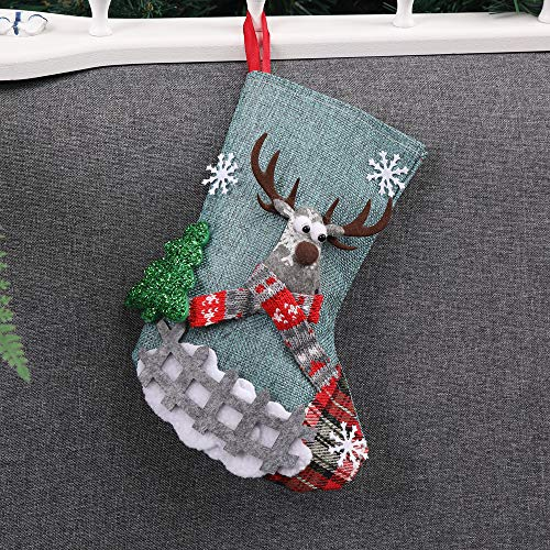 Chenway Merry Christmas Santa Stocking,Xmas Tree Decoration Ornaments Home Garden Decor Sock Gift Candy Bags (Blue) ()