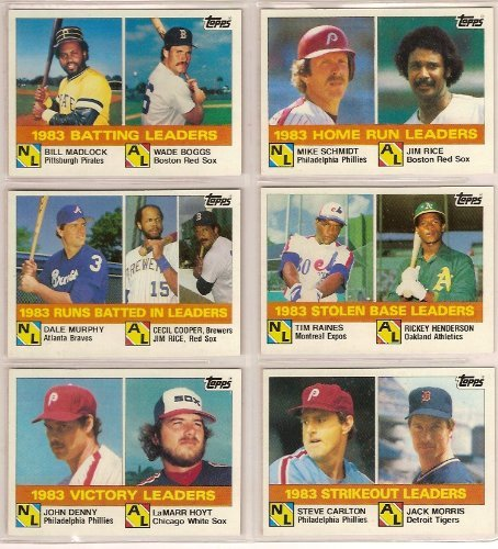 1984 Topps Baseball League Leaders Set from the 1983 Season (Steve Carlton) (Jack Morris) (LaMarr Hoyt) (Johnny Denny) (Tim Raines) (Rickey Henderson) (Dale Murphy) (Jim Rice) (Cecil Cooper) (Mike Schmidt) (Wade Boggs) (Bill Madlock) (Baseball Card Schmidt)