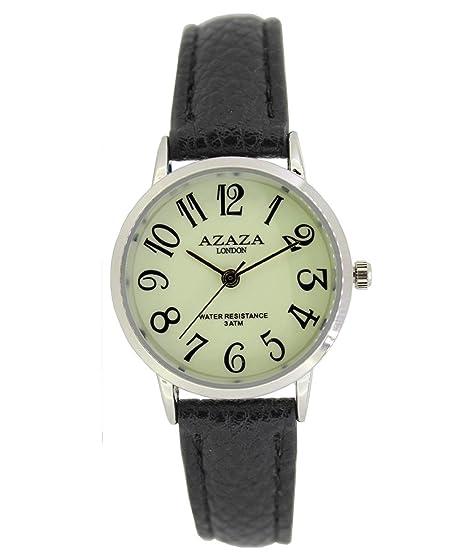 Azaza London - Reloj de pulsera para mujer, correa de piel negra brillante en la oscuridad, esfera luminosa, color plateado: Amazon.es: Relojes