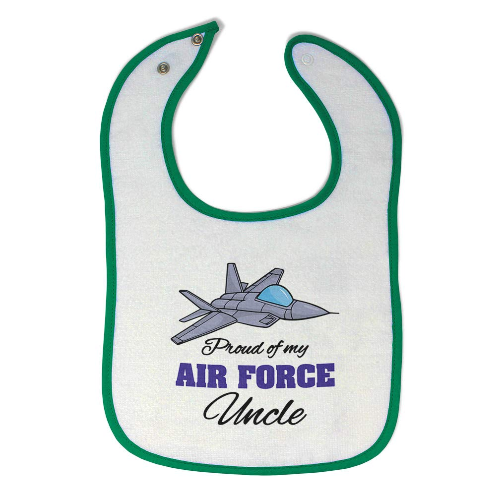 Toddler /& Baby Bibs Burp Cloths Proud of My Air Force Uncle Cotton Items for Girl Boy Gift Ad White Black Design Only