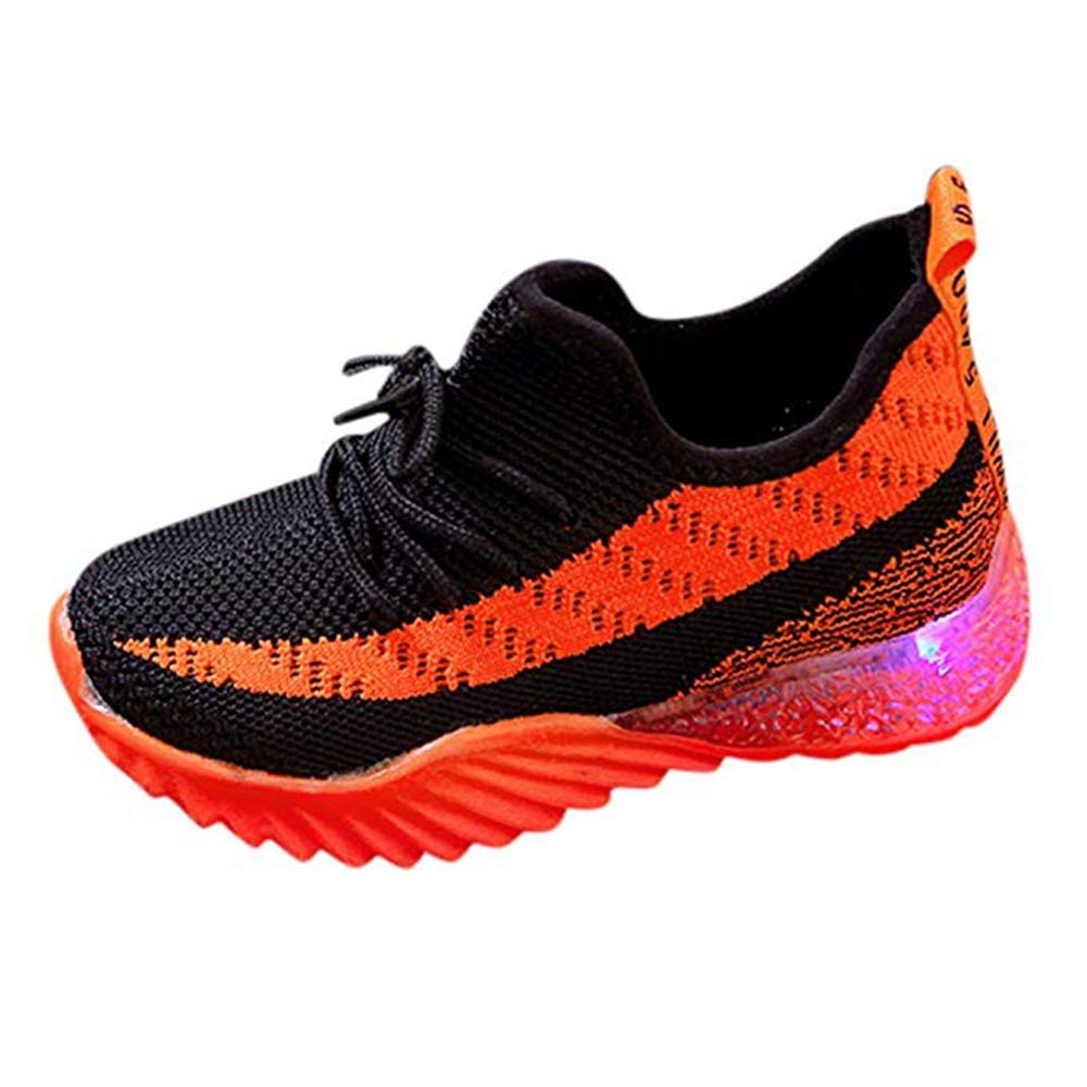 Kids LED Light Up Shoes Toddler Baby Girls Boys Breathable Knit Flashing Sock Soles Lightweight Slip-On Running Sneakers Red by KINGLEN Baby shoes