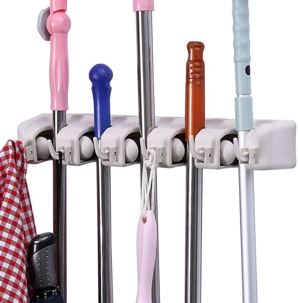 Wall Mounted Mop Brush Broom Organizer Hanger Holder Storage Rack Kitchen Clean