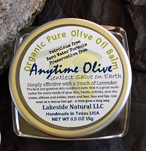 Organic Pure Olive Oil Balm - Zero Chemical or Preservative Concentrated Formula Gentlest Salve to Naturally Moisturize and Protect Sensitive Skin, A Touch of Lavender Oil - Two 0.5 oz Jars