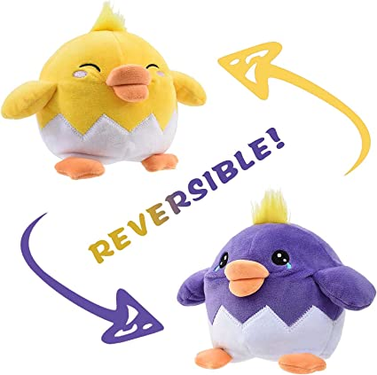 Cute Vivid Mini Stuffed Plush Toy Newtion Reversible Expression Doll Plushie Toy Best Gift for Boys Girls Children Show Your Mood Without Saying a Word! Double-Sided Flip Mood Animal Doll