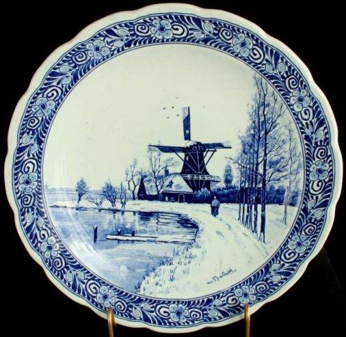 (Large Transferware Blue Delft Plate Charger Petrus)