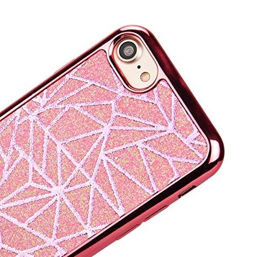 SMARTLEGEND Silicone Morbido Cover Per iPhone 7, Anti-Graffio TPU Case Cover, Ultra Glitter Protettiva Guscio Protettivo, Anti-Shock Soft Cover, Durevole Soft Case - Rose Gold