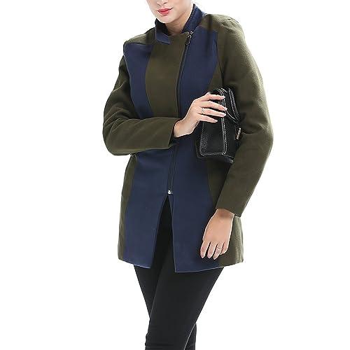 Moda Collar del soporte Abrigo de lana Para mujeres Talla grande Capa Para otoño e invierno