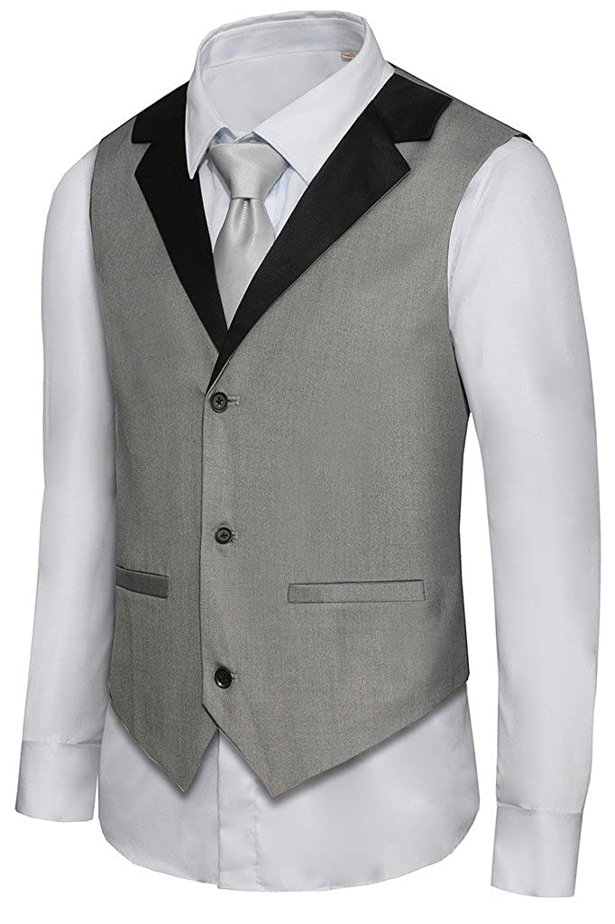 Men's Vintage Inspired Vests Hanayome Mens Formal Vest Casual Waistcoat Dress Vests Jackets VS05 $28.50 AT vintagedancer.com