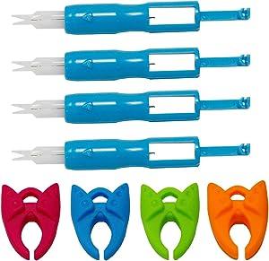 4PCS Sewing Machine Needle Inserter and Threader, Needle Threading Tool for Sewing Machine Auto Threader Needle Changer,4PCS Bobbin Holder Clamps (Blue)