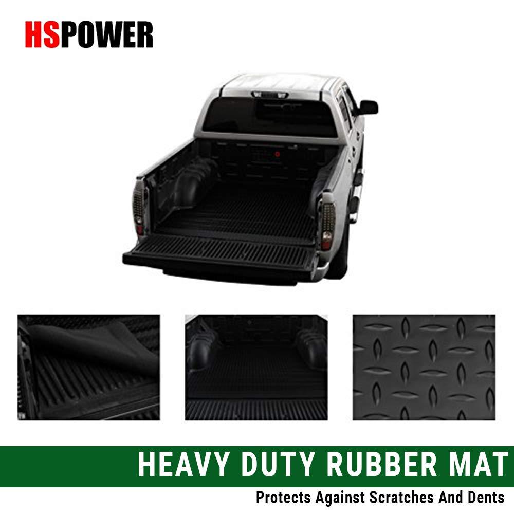 HS Power Black Truck Bed Mat 2005-2017 for Nissan Frontier Rubber Diamond Plate Trunk Floor Carpet 6'